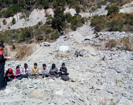 Students forced to study under open sky