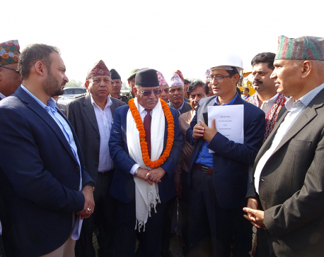 Dahal inspects construction works of Gautam Buddha Int'l Airport