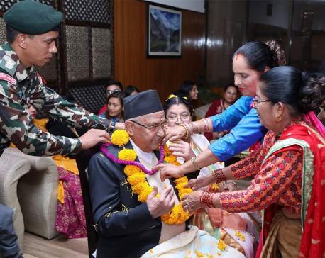 Prime Minister Oli receives Bhai Tika