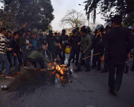 PM Oli's effigy burnt in capital