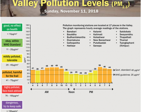 Valley Pollution Levels for November 11, 2018
