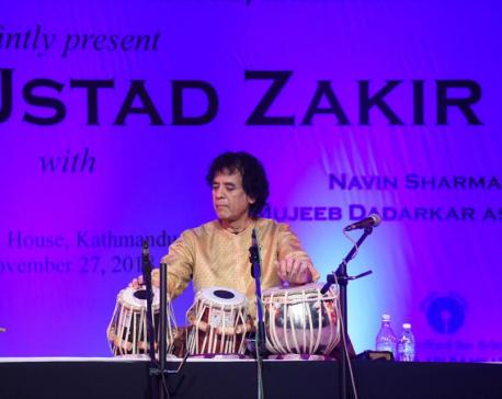 Ustad Zakir Hussain gives Tabala performance in Kathmandu
