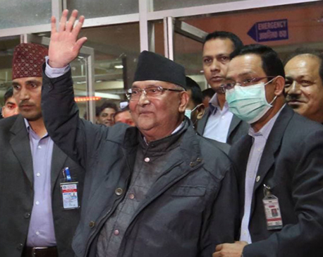 PM Oli leaves hospital