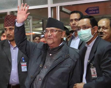 PM Oli leaves hospital