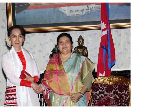 Aung San Suu Kyi, Prez Bhandari meets