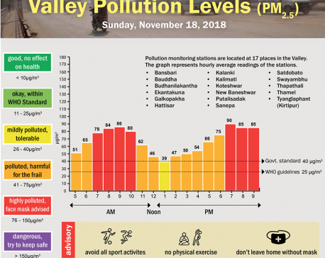 Valley Pollution Levels for November 18, 2018