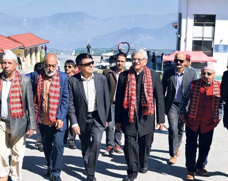 Indian leader Yechuri visits Chandragiri hill