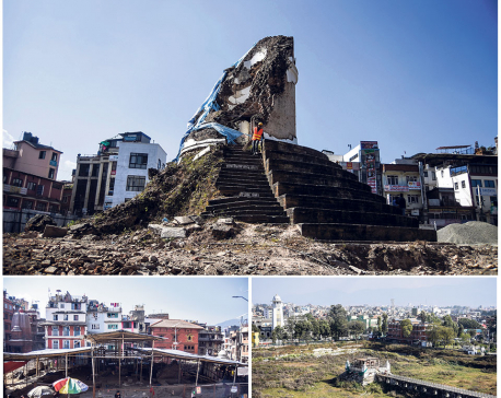 3 years after quake, iconic heritage sites still in shambles