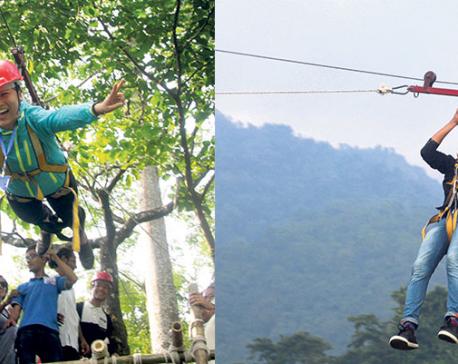 Flying fox and zip flying in Dharan
