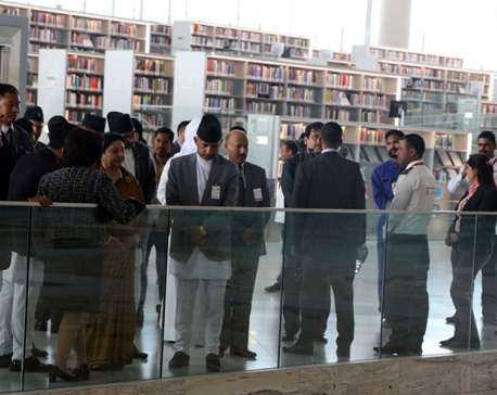President Bhandari observes Qatar National Library