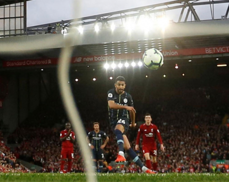City's Mahrez misses late penalty in stalemate at Liverpool