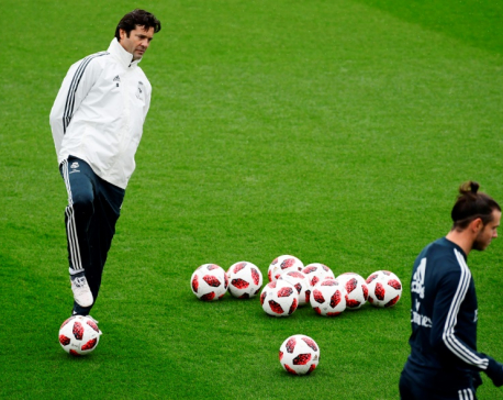 Solari takes first training sessison at Real Madrid