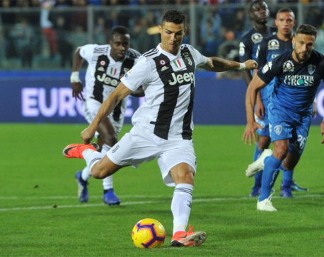 Ronaldo scores twice as Juve overcome fright to win at Empoli