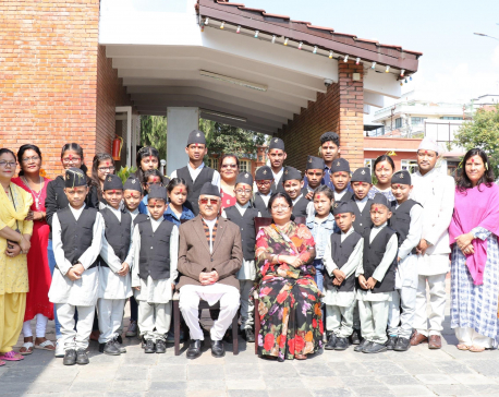 PM Oli offers Dashain Tika to HIV-infected 23 children