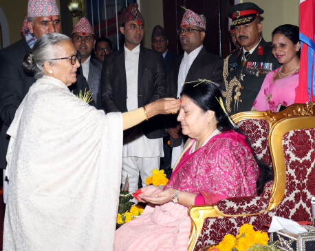 IN PICTURES: President receives Dashain tika
