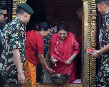IN PICTURES: Prez Bhandari visits various shrines to observe Maha Astami