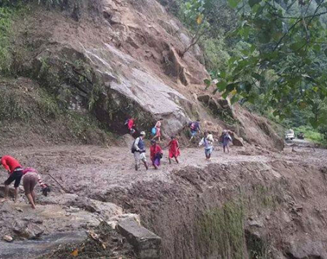 Landslide blocks Pasang Lhamu road