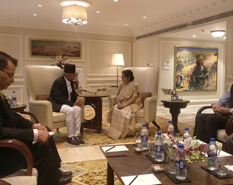 Minister Gyawali meets Swaraj, extends condolence on Vajpayee's demise