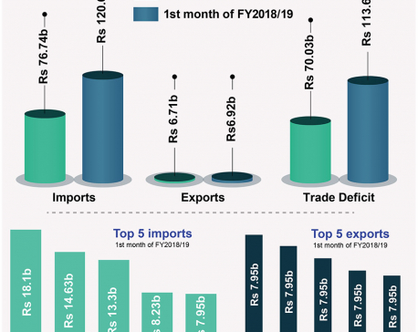 Trade deficit in first month of Fiscal Year rises to Rs 113.69 billion