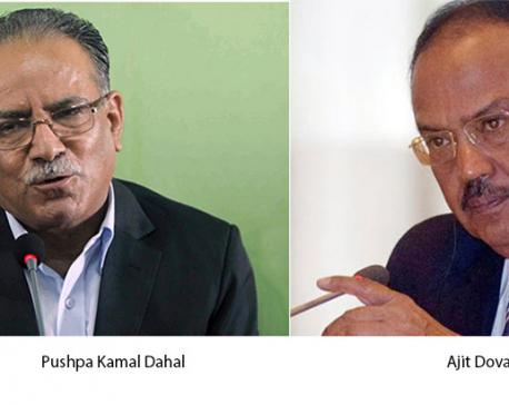 Dahal calls on Doval in New Delhi