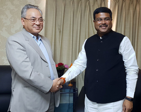 Home Minister Thapa, Indian Minister Pradhan meet