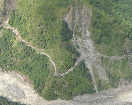 Landslides hit Lamjung-Manang road