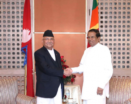 PM Oli calls on Sir Lankan Prez Sirisena