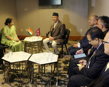 Indian External Affairs Minister pays courtesy call on PM Oli