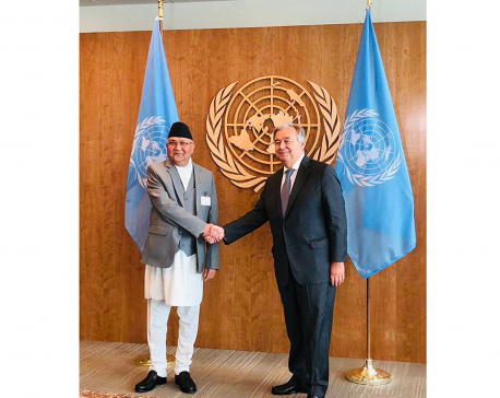 PM Oli, UN Secretary-General hold meeting