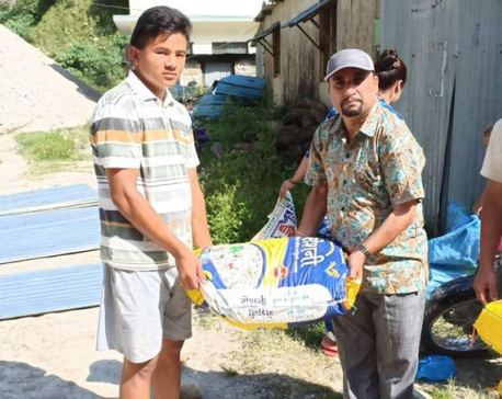 Local unit provides relief to families displaced by landslide