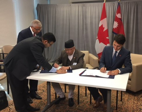 PM Oli holds talks with Canadian counterpart, agreement signed
