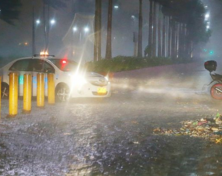 Ferocious typhoon plows through rain-soaked Philippines