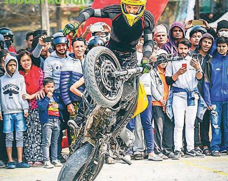 Bike stunt craze in Bhaktapur