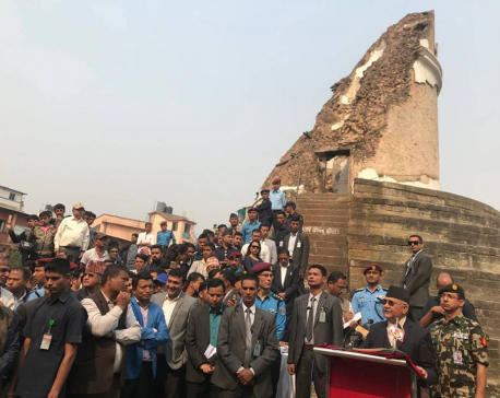 From the ruins of Dharahara, PM Oli urges speedy reconstruction