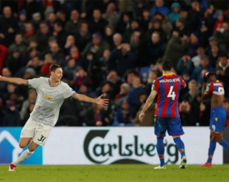 Late Matic strike gives United win in five-goal Palace thriller