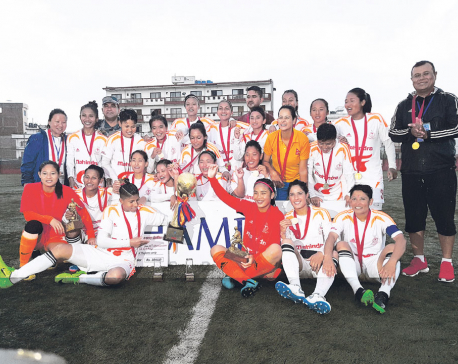 Bhandari hat-trick helps APF clinch women's league title