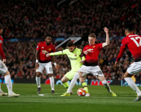 Shaw own goal gives Barca advantage over tame United