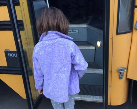 She boarded the bus