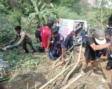 Two killed, 10 injured in Dhading Bus Accident