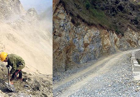 Work apace on Kaligandaki Corridor road widening
