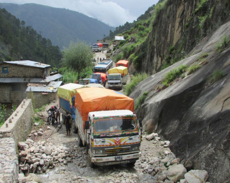 Passengers stranded as landslide obstructs Karnali highway