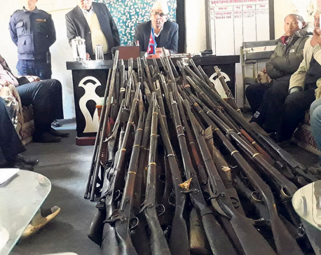 People of conflict-affected Rukum villages submit illegal arms to govt