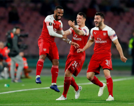 Magnificent Lacazette free kick sends Arsenal into semis