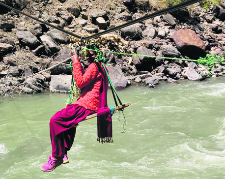 Locals in Jajarkot still using tuin to cross river for years