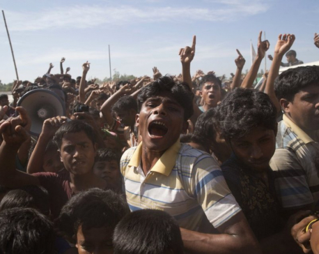 Rohingya refugees protest exodus, demand rights in Myanmar