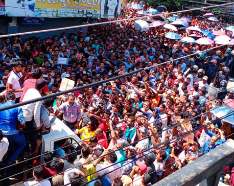 Separate protests by Pudasaini and Lamichhane supporters