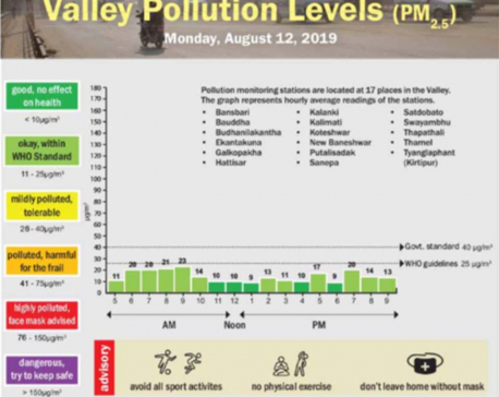 Valley pollution levels for Aug 11, 2019