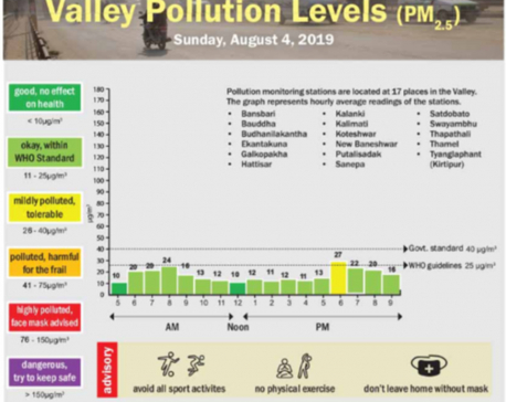 Valley pollution levels for Aug 4, 2019