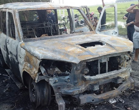 Government vehicle torched in Kapilvastu