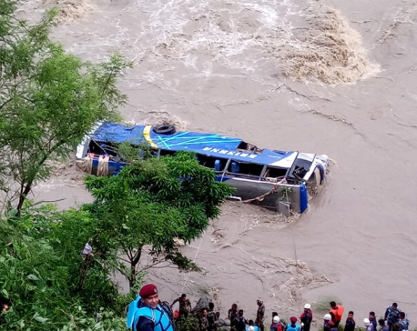 Trishuli bus plunge kills three, injures 14